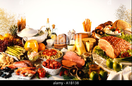 FOOD TABLETOP SPREAD - Stock Photo