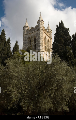 The tower of the Anglican Episcopal St. George's Cathedral located in East Jerusalem. Israel - Stock Photo