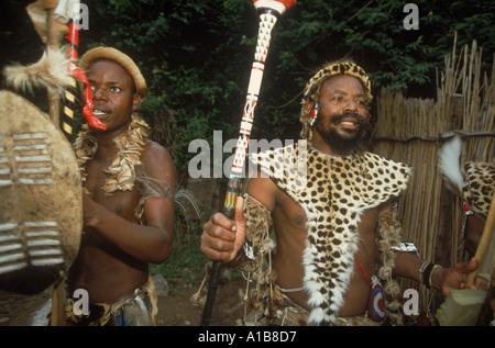 Zulu Chief in his Simunye village South Africa A Evrard - Stock Photo