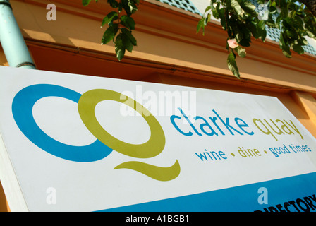 Sign for Clarke Quay Singapore - Stock Photo