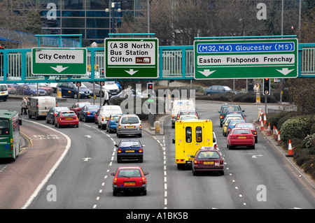 Traffic in Bristol city centre England UK - Stock Photo