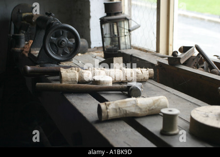Old Irish woodwork shop bench and tools in window at Ulster Folk and Transport Museum Cultra County Down Northern - Stock Photo