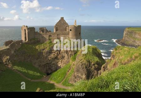 Northern Ireland Country Antrim Dunluce Castle - Stock Photo