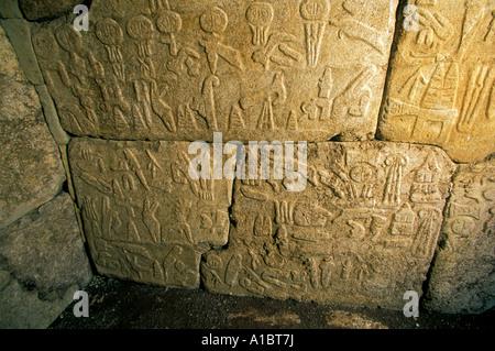 Reliefs in tunnel potern through the fortress of Hattusas capital city of Hittites Bogazkoy Turkey - Stock Photo