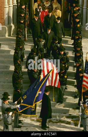 Funeral for police officer Clark who was killed while on duty in Syracuse New York - Stock Photo