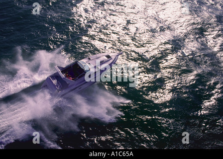 Powerboat planes over gulf waters near Tampa Bay Florida - Stock Photo