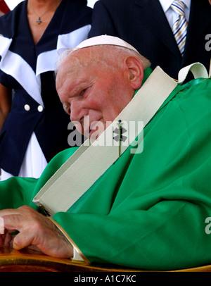 Pope John Paul II during public Mass in Crakow Poland 18 08 2002 - Stock Photo