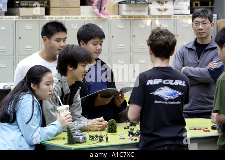 group of young people playing a fantacy game, Hong Kong - Stock Photo