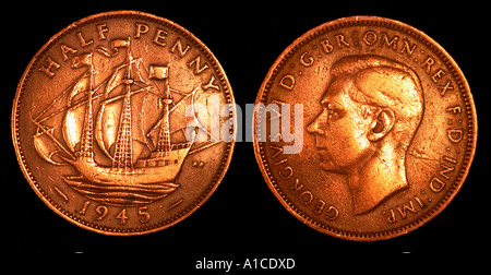 1945 King George VI Half penny coin - Stock Photo