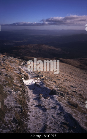 One of the paths leading down from the top of Ben Lomond - Stock Photo