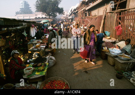 Myanmar Burma Lashio commerce Shan market - Stock Photo