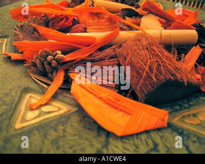 Pot pourri in bowl close up - Stock Photo