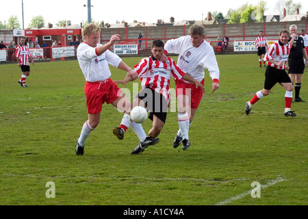 Amateur football match between new stars and the older generation of Witton Albion Northwich Cheshire