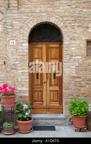 tuscan wooden doors front door to home in pienza tuscany italy stock photo royalty