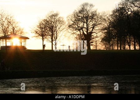 Roundhay Park in Leeds at sunset - Stock Photo