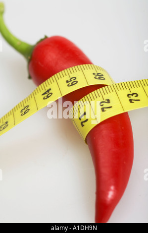 Measuring tape with peperoni - Stock Photo