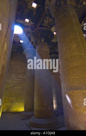 Beam of light at Edfu temple river nile Egypt - Stock Photo
