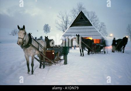 Zakopane sledging cavalcade mountainous cottage Sleigh ride - Stock Photo