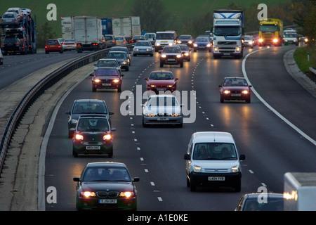 Traffic on M11 Motorway near Harlow Essex United Kingdom - Stock Photo