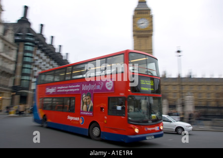 Red Double Decker Bus Parliament Square London United Kingdom - Stock Photo