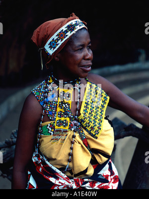 Zulu tribes woman in traditional dress - Stock Photo