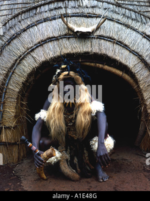Zulu Witch Doctor in traditional dress - Stock Photo