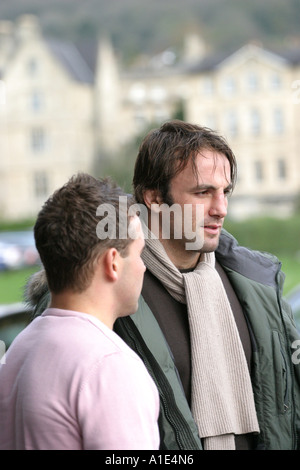 Danny Grewcock and Olly Barkley of England and Bath Rugby the day after the Autum International at Twickenham. - Stock Photo