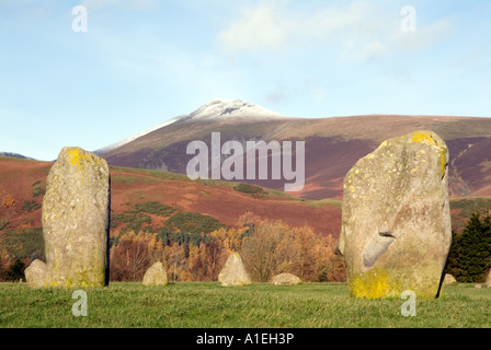 Doug Blane Castlerigg Stone Circle and Blencathra Saddleback near Keswick in the English Lake District National - Stock Photo