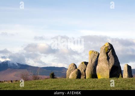 Castlerigg Stone Circle and Blencathra Saddleback near Keswick in the English Lake District National Park Cumbria - Stock Photo