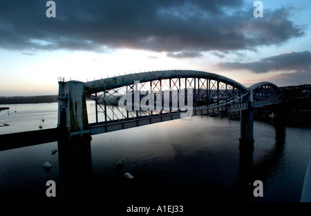 Royal Albert Bridge over the Tamar at Saltash Cornwall UK - Stock Photo