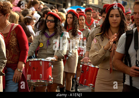 Parade celebrating Hanuka Christmas Ramadan festival in the Haifa Neighbourhood of Wadi Nisnas - Stock Photo