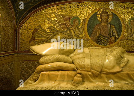 Tomb of Pope Pius XI at the Catacombs under St Peter's Basilica, Vatican city Rome Italy - Stock Photo