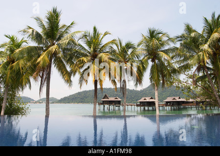infinity pool in pangkor laut Pangkor Laut is a stunning resort on its own private island in Malaysia - Stock Photo