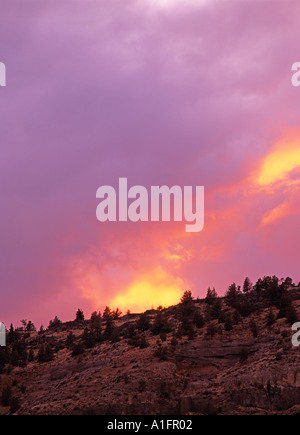 Sunset clouds over Lake Billy Chinook Oregon - Stock Photo