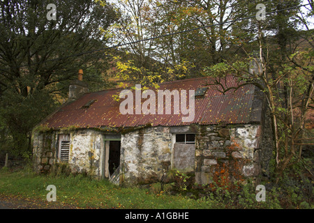 derelict croft cottage in scottish highlands - Stock Photo
