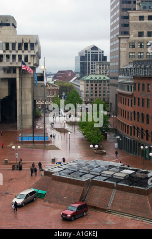 View of Center Plaza surrounded by buildings Boston Massachusetts USA - Stock Photo