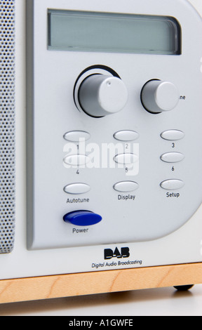Close up of a DAB Digital Audio Broadcasting radio button panel - Stock Photo