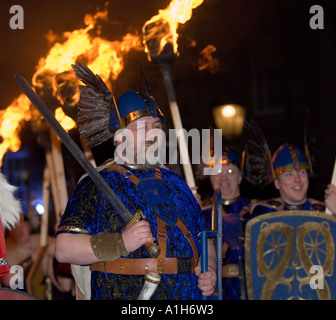 Man in costume at Up Helly-Aa, Shetland's annual fire festival - Stock Photo