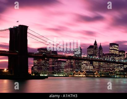 Manhattan Skyline and Brooklyn Bridge New York USA - Stock Photo