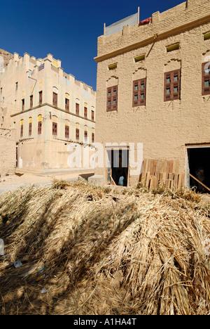 old town of Al Hajjaryn Wadi Doan Hadramaut Yemen - Stock Photo