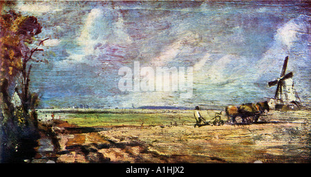 John Constable Spring East Bergholt Common Oil on Canvas c1814 - Stock Photo