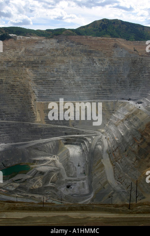 Open cast mining at Kennecott Copper Mine Bingham Canyon Utah USA - Stock Photo