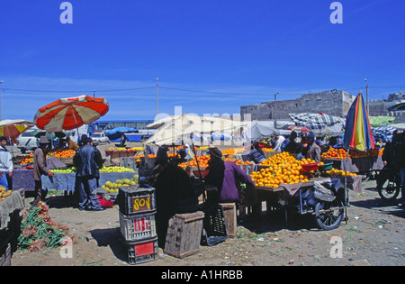Fruit market at Essaouira Morocco - Stock Photo