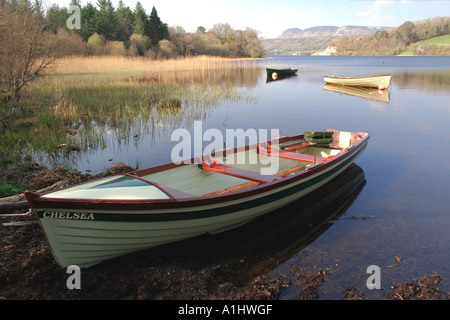 boats moored on the shore of Lough Gill, County Leitrim, Republic of Ireland - Stock Photo