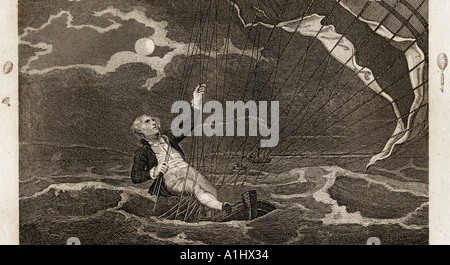 The Perilous Situation of Major Mony OR Money, when he fell into the sea July 23, 1785 off the coast of Yarmouth. - Stock Photo