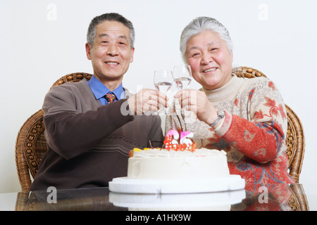 Portrait of a senior couple toasting with wine glasses - Stock Photo