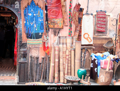 Colourful display of goods in the souk, Marrakech, Morocco, Northwest Africa - Stock Photo