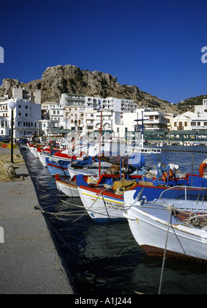 Fishing Boats Pigadia Harbour Karpathos Greece Europe - Stock Photo