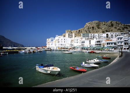 Pigadia Harbour Harbor Greek Dodecanese Island of Karpathos Aegean Sea Greece Europe - Stock Photo