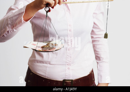 Mid section view of a businesswoman weighing paper currency with coins on a weighing scale - Stock Photo
